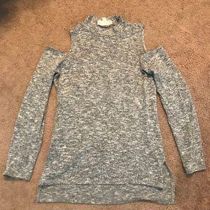 Pink Repblic Mock Neck Cold Shoulder Sweater